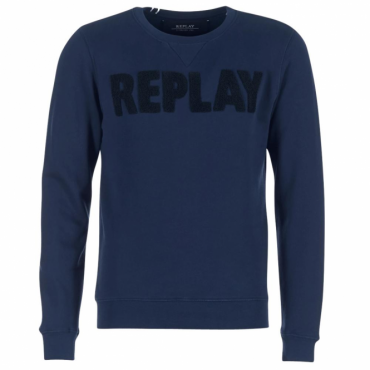 Replay Logo Crew Neck Sweatshirt Navy M3436A