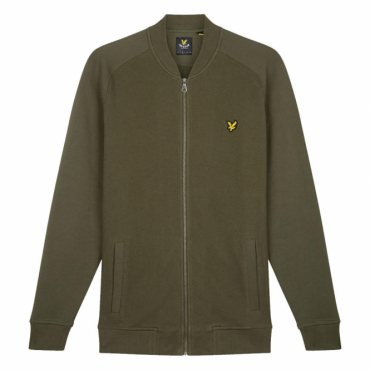 Lyle & Scott Olive Green Honeycomb Bomber Zip Up Sweat ML712V