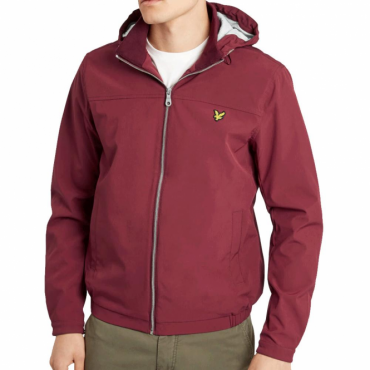 Lyle & Scott Claret Red Jersey Lined Soft Shell Zip Up Hooded Jacket JK725V