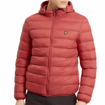 Lyle & Scott Pomegranate Dark Red Zip Up Lightweight Puffer Jacket JK713V