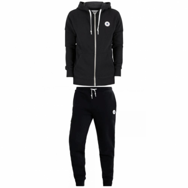 Converse All Star Print Logo Black Zip-Up Hoody Full Tracksuit