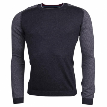Ted Baker Pepmint Charcoal Grey Herringbone Detail Jumper