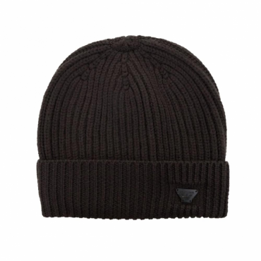 Armani Jeans Brown Turn Up Ribbed Beanie Hat 934029 7A757