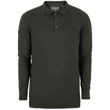 Superdry Orange Label Knit Polo Evergreen Grit II8