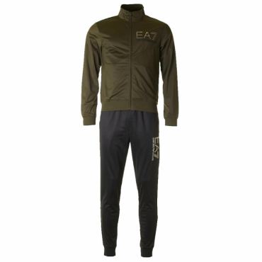 Emporio Armani EA7 Green Black Zip Up Polyester Tracksuit 6YPV58 PJ08Z