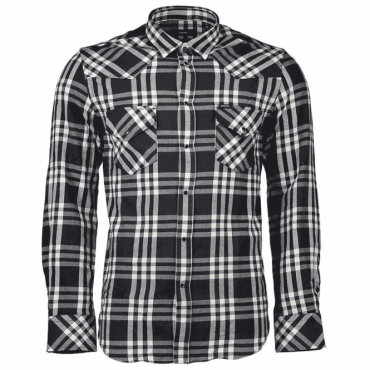 Diesel S-East Long Sleeved Navy Blue Check Flannel Shirt