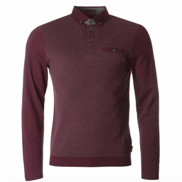 Ted Baker Woolpack LS Mouline Polo Shirt Dark Red