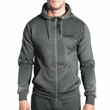Foray Echo Hood Khaki Reflective Mesh Zip Up Hoody