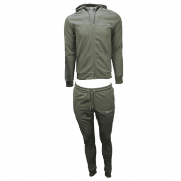 Foray Echo Khaki Reflective Mesh Zip Up Hoody Tracksuit