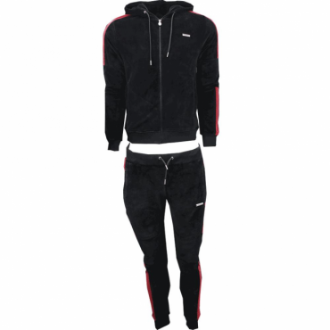 Foray Apex Black Velour Zip Up Hoody Tracksuit