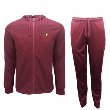 Lyle & Scott Claret Red Poly Tricot Zip Up Hoody Tracksuit ML705V