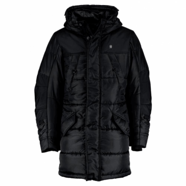 G-Star Whistler HDD Parka Quilted Hooded Coat Black D05993