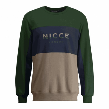 NICCE Triple Panel Crew Neck Sweatshirt Green/Navy/Mushroom M01SW09