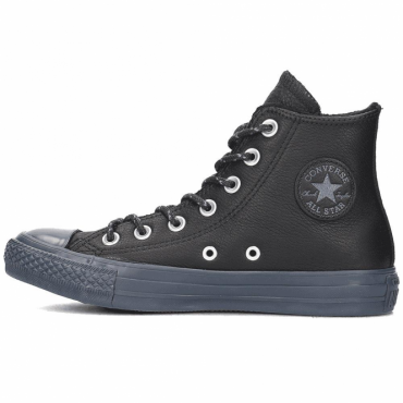 Converse All Star Black Leather Hi Top Trainers 157514C