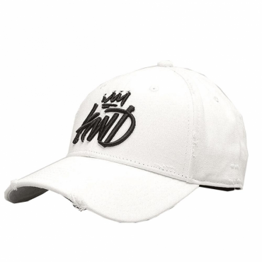 KWD White Distressed Baseball Cap