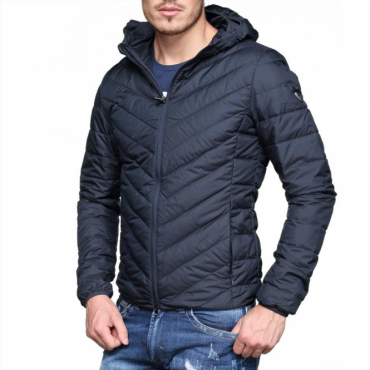 Emporio Armani EA7 Ultra-Light Down Hooded Jacket Navy Blue 8NPB09 PNE1Z