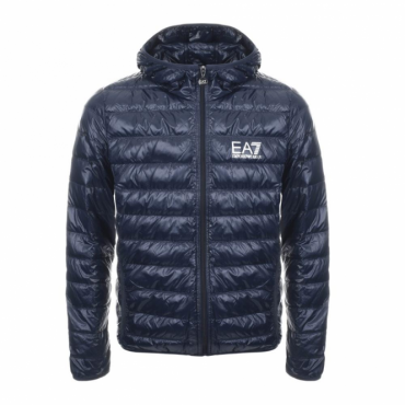 Emporio Armani EA7 Ultra-Light Down Hooded Jacket Navy Blue 8NPB02 PN29Z