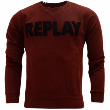 Replay Logo Crew Neck Sweatshirt Burgundy M3436A
