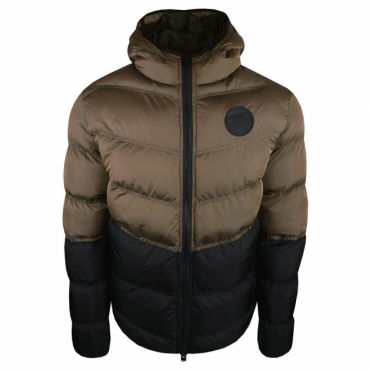 4Bidden Combat Black/Champagne Quilted Hooded Puffer Jacket