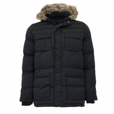 Brave Soul Balfour Black Hooded Puffa Parka Coat