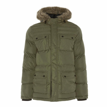 Brave Soul Balfour Green Hooded Puffa Parka Coat
