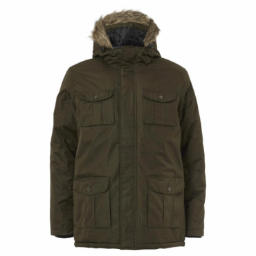 Brave Soul Canadian Khaki Green Hooded Parka Coat