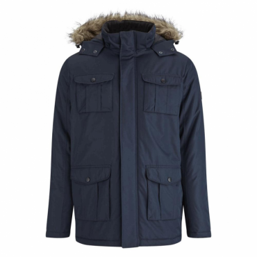 Brave Soul Canadian Navy Blue Hooded Parka Coat