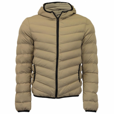 Brave Soul Grant Sand Lightweight Hooded Puffa Jacket