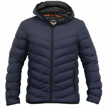 Brave Soul Grant Navy Blue Lightweight Hooded Puffa Jacket