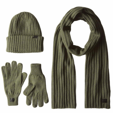 G-Star Raw Xemy Gift pack Green Sheldy Knit Beanie Gloves and Scarf