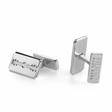 Hugo Boss E-Razor Logo Polished Metal Cufflinks 50378968