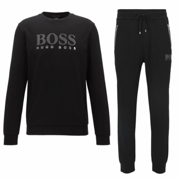 Hugo Boss Crew Neck Logo Tracksuit Black 50378238