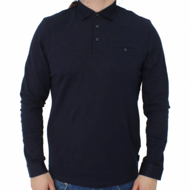 Ted Baker Scooby LS Textured Polo Shirt Navy