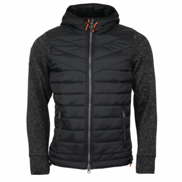 Superdry Storm Hybrid Ziphood Jacket Gritty Black EKW