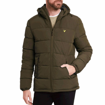 Lyle & Scott Olive Green Zip Up Wadded Puffer Jacket JK509VN