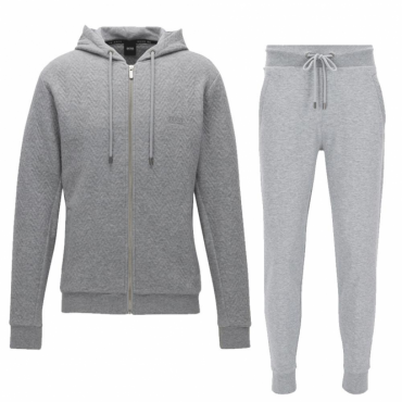 Hugo Boss Contemp Hooded Zip Up Quilted Tracksuit Light Grey 50378253