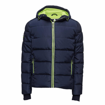Superdry Sports Puffer Jacket Navy/Lime KD9