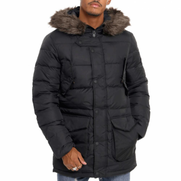 Superdry Longline Down Chinook Parka Puffer Coat Black 02A
