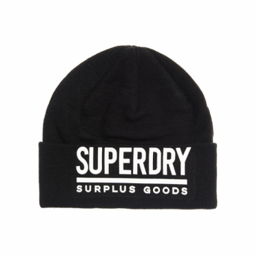 Superdry Surplus Goods Logo Beanie Hat Black and White 59A
