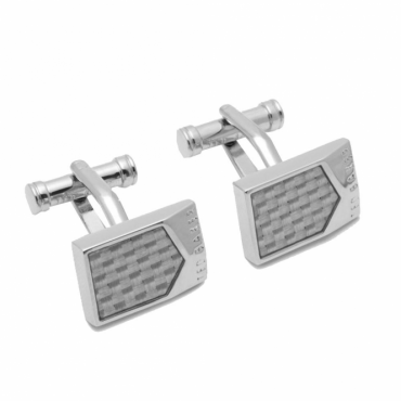 Ted Baker Polol Carbon Fibre Silver Cufflinks
