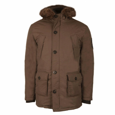 Superdry Fur Trimmed Everest Parka Coat Khaki 03O