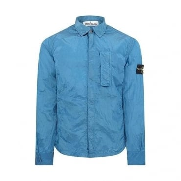 Stone Island Full Zip-Up Metal Overshirt Jacket Bright Blue V0023 10844