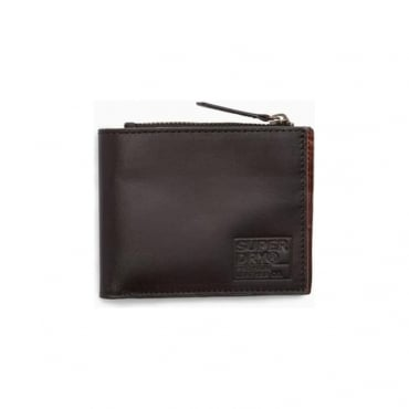 Superdry Super Premium Contrast Dark Brown Leather Bi-fold Wallet 04O