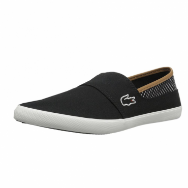 Lacoste Marice 118 Black Canvas Slip-On Plimsoles