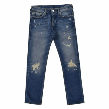 True Religion Rocco Cobalt Blue Ripped Denim Jeans