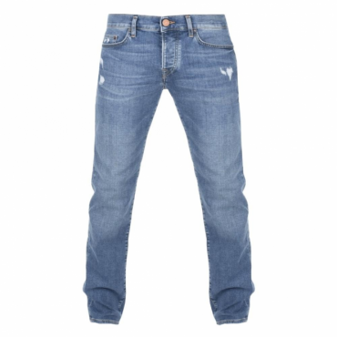 True Religion Rocco Broken Twill Blue Ripped Denim Jeans