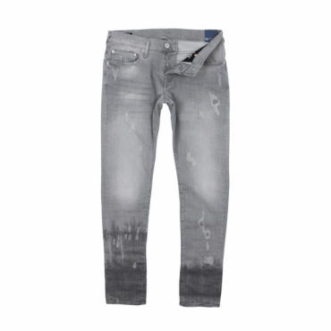 True Religion Rocco Slate Grey Damaged Denim Jeans