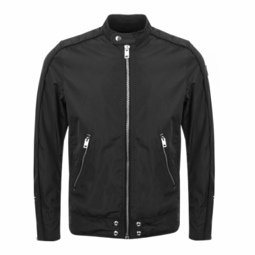 Diesel J-Quad Black Zip Nylon Biker Jacket