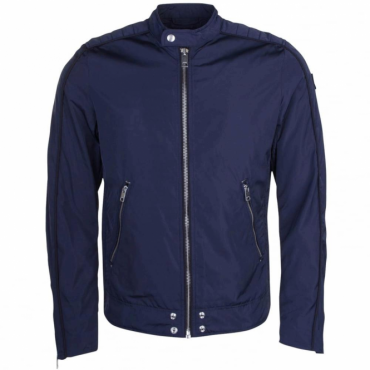 Diesel J-Quad Navy Zip Nylon Biker Jacket