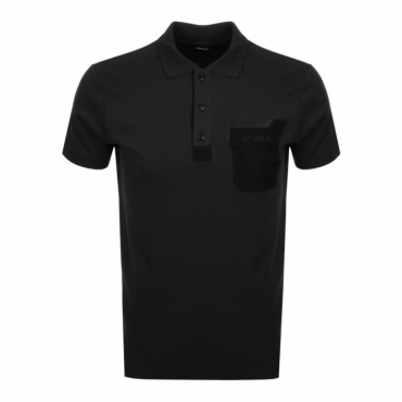 Diesel T-Temp Jersey Polo T-Shirt With Pocket Black
